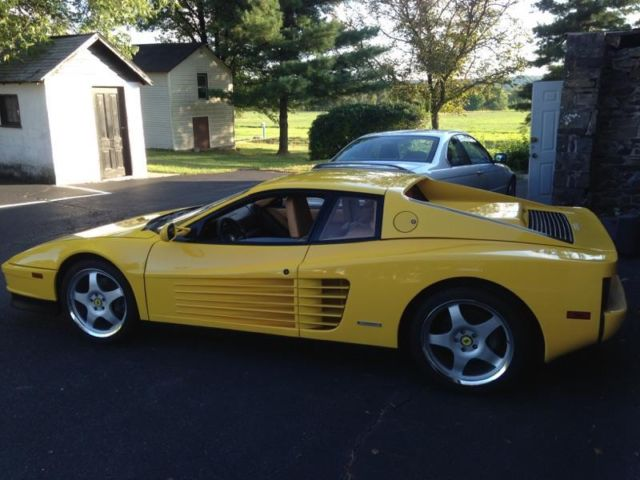 1990 Ferrari Testarossa Fly Yellow Over Tan Only 16k Miles