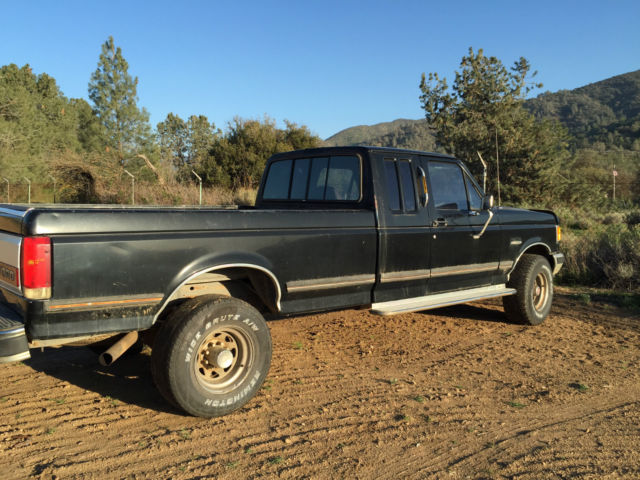 1990 ford f 250 4x4 lariat xlt 7 5l v 8 black 2 door extended cab with long bed classic ford f. Black Bedroom Furniture Sets. Home Design Ideas