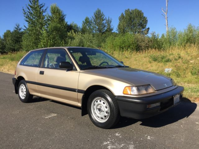 1990 honda civic hatchback 3 door 30k original miles for Gold honda civic
