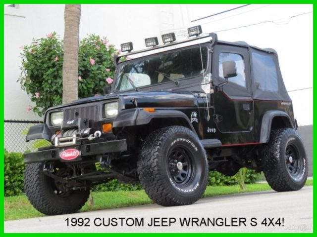 1992 Jeep Wrangler S 4x4 4wd Custom Triple Black Full Soft Top No