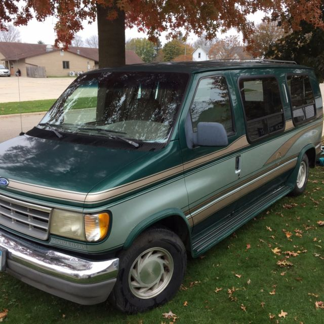 1993 ford e150 conversion van green tan silver accent one