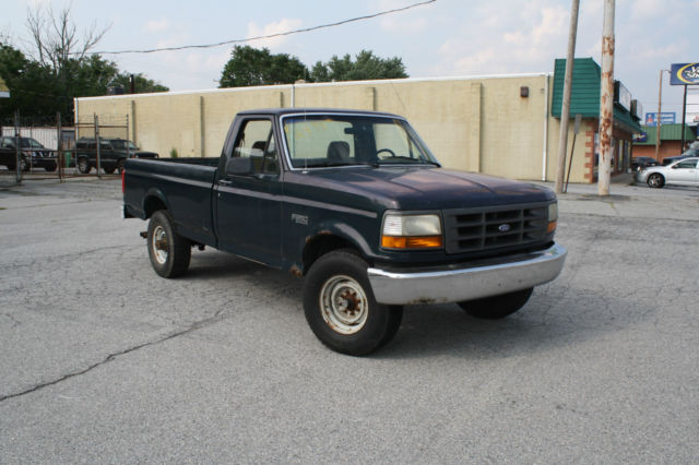 1994 green ford f 250 xl 5 8l v8 single cab 8 ft bed pickup truck miles classic ford f. Black Bedroom Furniture Sets. Home Design Ideas