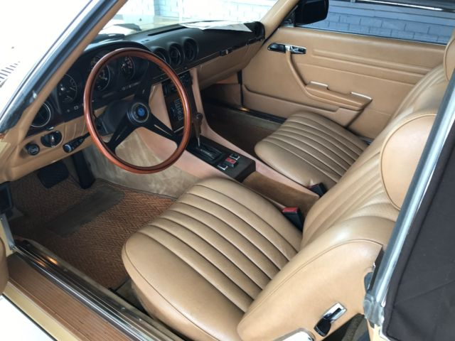 380sl great condition both tops refreshed paint yellow tan interior brown top classic mercedes. Black Bedroom Furniture Sets. Home Design Ideas