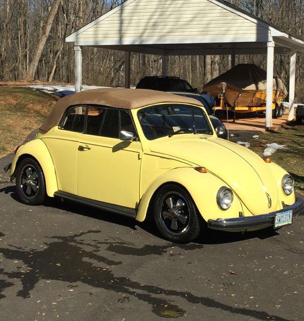 68 vw bug convertible yukon yellow clean ca bug turns heads classic volkswagen beetle. Black Bedroom Furniture Sets. Home Design Ideas
