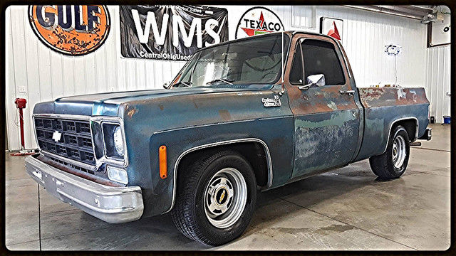 77 Green Patina Chevy Gmc Pickup Truck Rat Rod Square Body