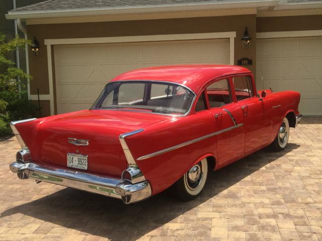 Beautiful red 1957 chevy 4 door sedan 1955 1956 1957 150 for 1957 chevy 4 door car for sale