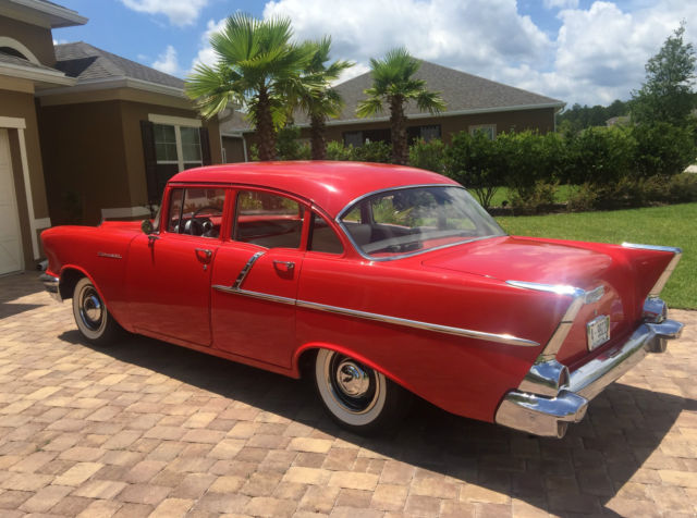 Beautiful red 1957 chevy 4 door sedan 1955 1956 1957 150 for 1957 chevrolet 4 door