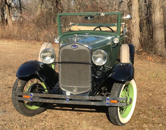 Beautiful Triple Green And Black 1930 Ford Model A Cabriolet Convertible Classic