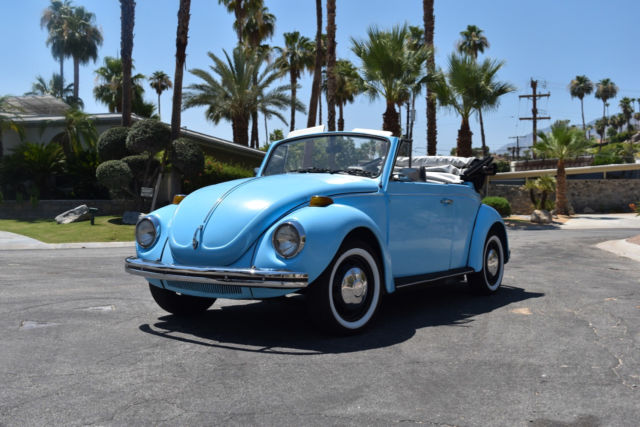 Blue 1971 Volkswagen Beetle Convertible Classic Restored