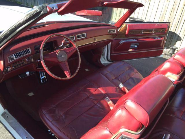 Cadillac Eldorado 1975 White Convertible Red Interior Classic Cadillac Eldorado 1975 For Sale