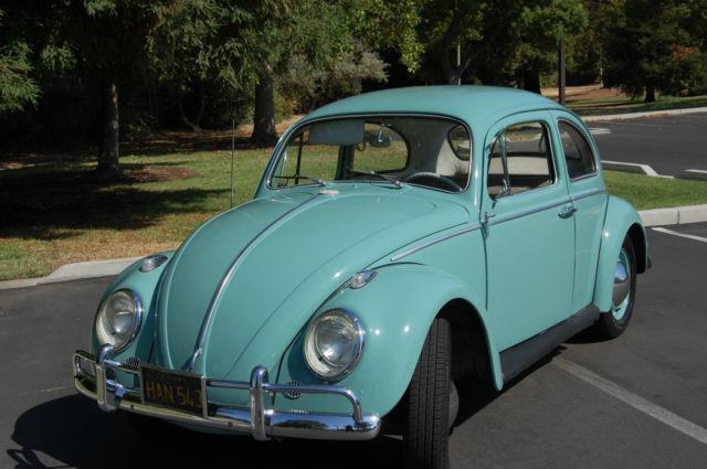 classic  vw beetle  door  teal green paint rebuilt motor tranny classic