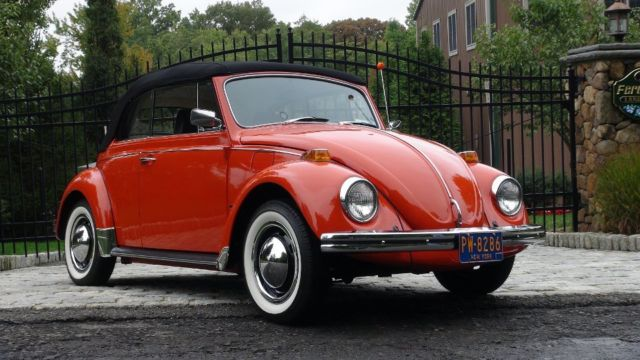 classic vw bug 1970 clementine orange beetle convertible 1600sp numbers match classic. Black Bedroom Furniture Sets. Home Design Ideas