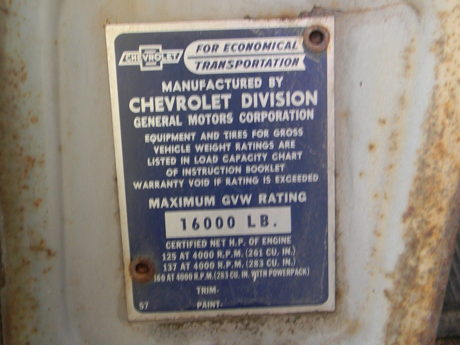 Collector 1957 Chevrolet Truck 6400 Classic Other Chevy Color Chart Prevnext