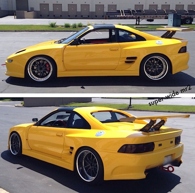 Custom Modified Yellow Widebody 92 Toyota MR2 Turbo Wide