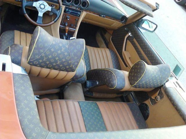 english red 1977 mercedes benz 450 sl convertible w custom louis vuitton int classic. Black Bedroom Furniture Sets. Home Design Ideas