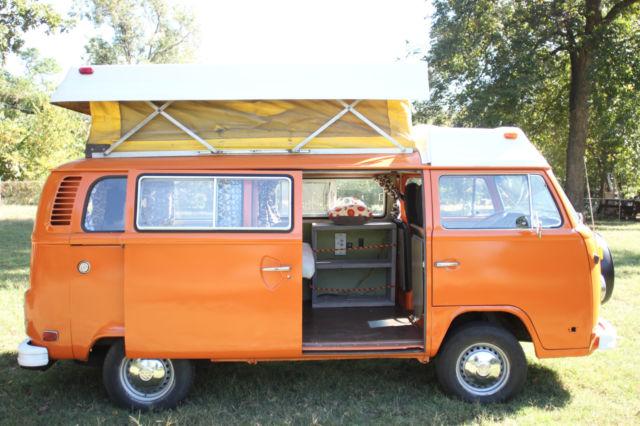 Orange 1974 Vw Camper Bus Van Riviera Westefalia