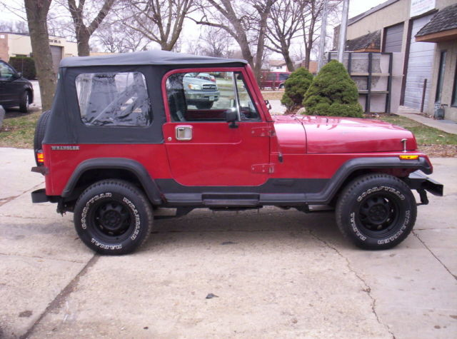 Red Jeep Wrangler Yj 4x4 New Soft Top Steel Full Doors