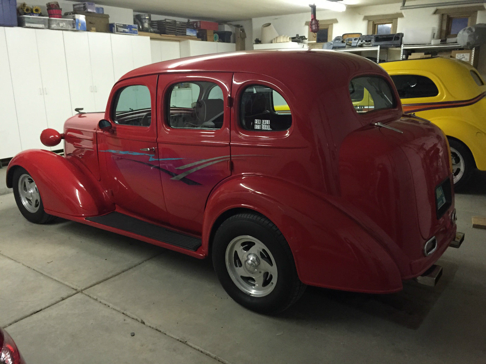 Street rod hot rod red master deluxe 4dr sedan for 1936 chevy master deluxe 4 door for sale