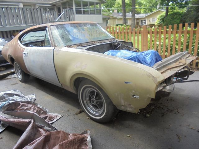 TRUE 1968 442 4 speed parts car/project, now 455 auto, 4:11