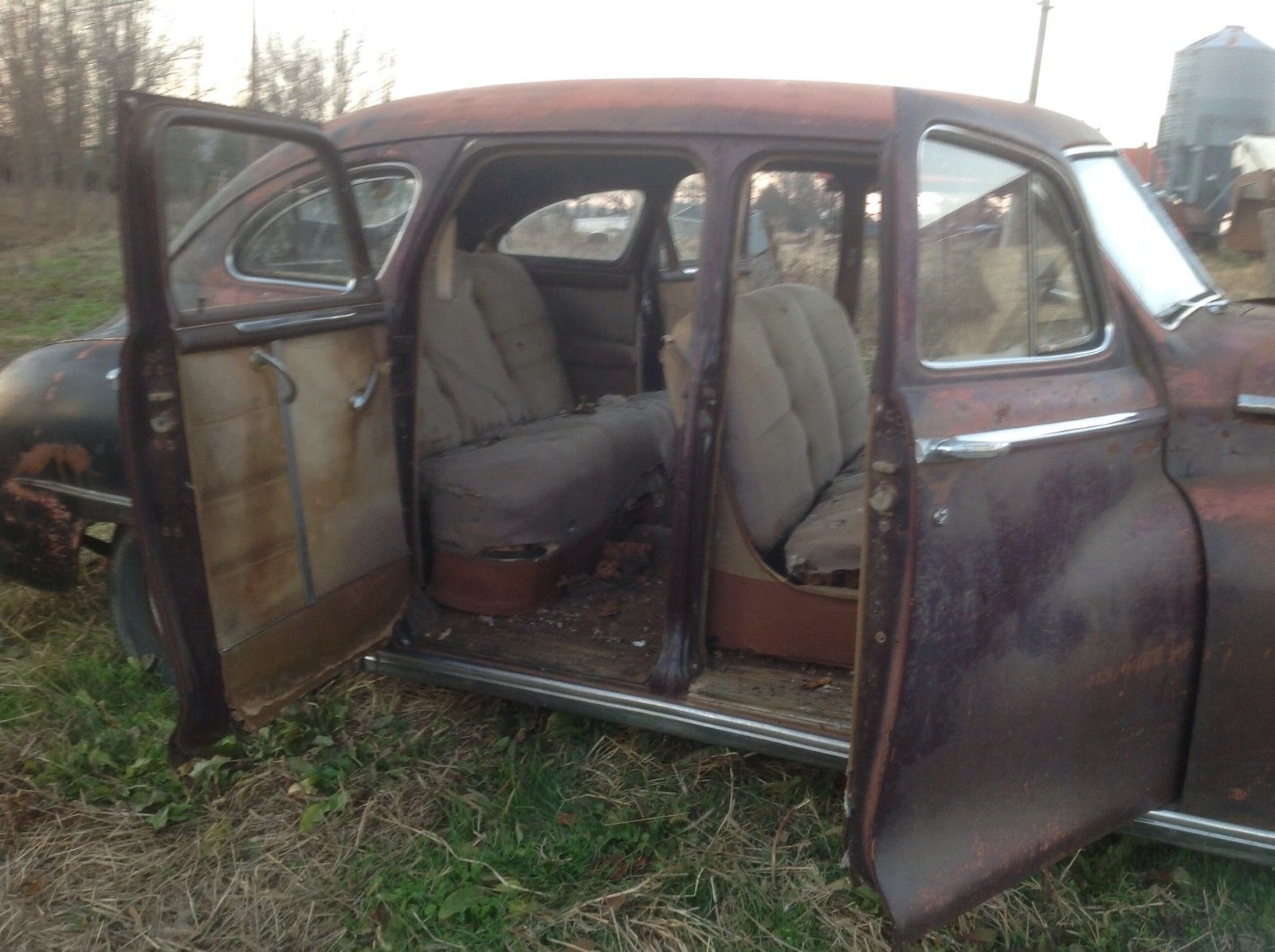 Unrestored 1948 classic dodge deluxe 4 door fluid drive Vintage garage doors for sale