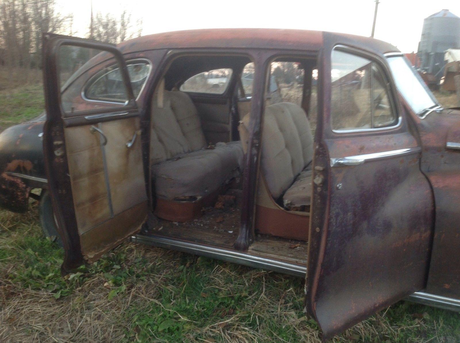 Unrestored 1948 classic dodge deluxe 4 door fluid drive Vintage garage doors for sale