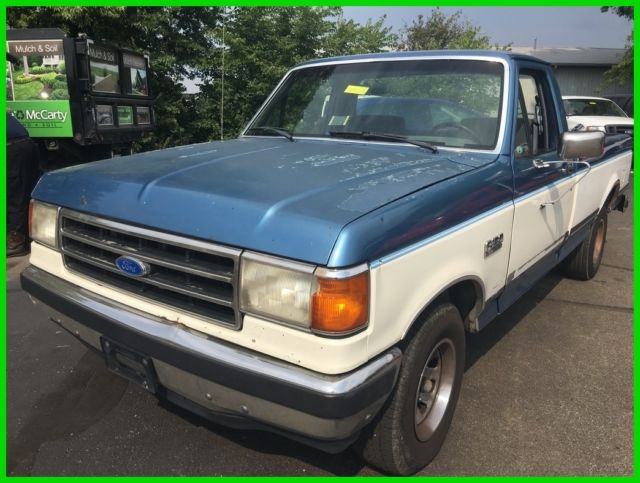 used 90 ford f150 xlt lariat 4 9l i6 rwd pickup truck blue gray cloth no reserve classic ford. Black Bedroom Furniture Sets. Home Design Ideas