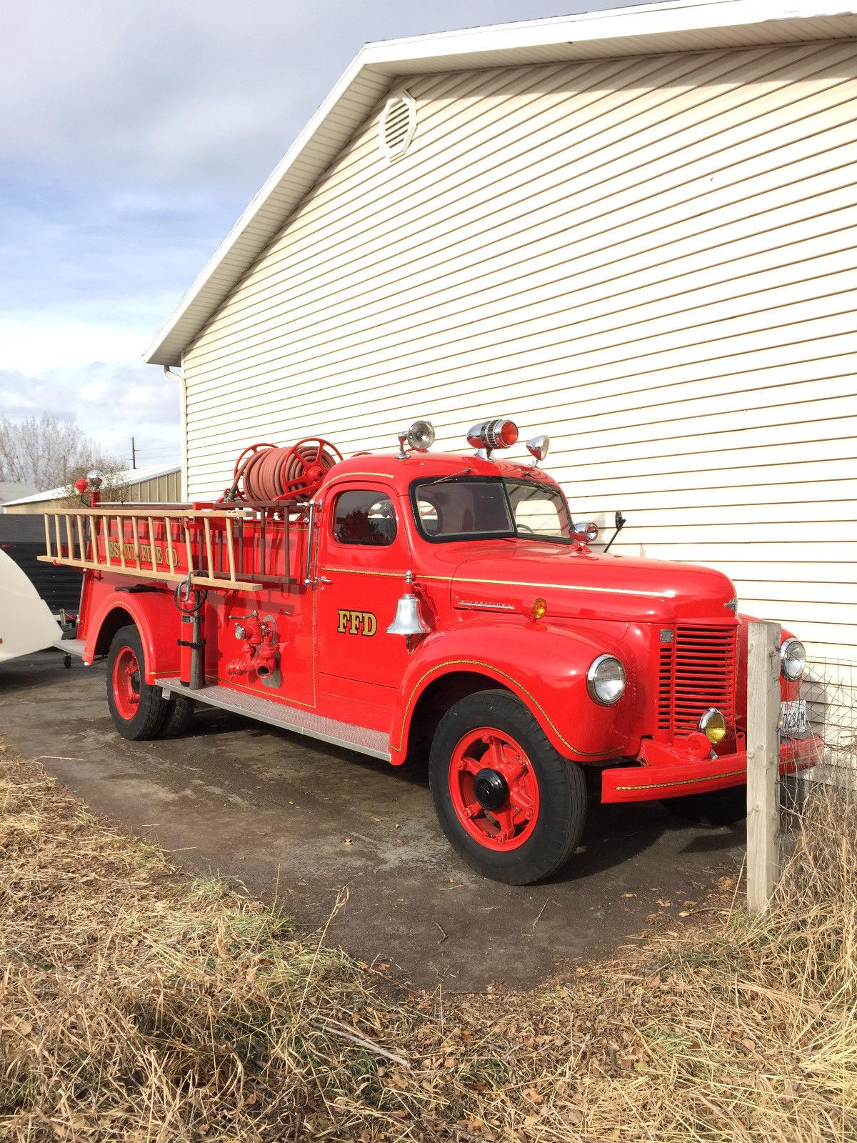 Antique International Harvester Wagon : Vintage international fire truck classic