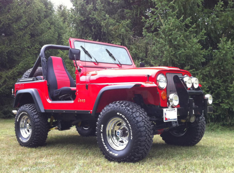 Viper red 1985 jeep cj7 many upgrades 400ci small for Cj custom homes