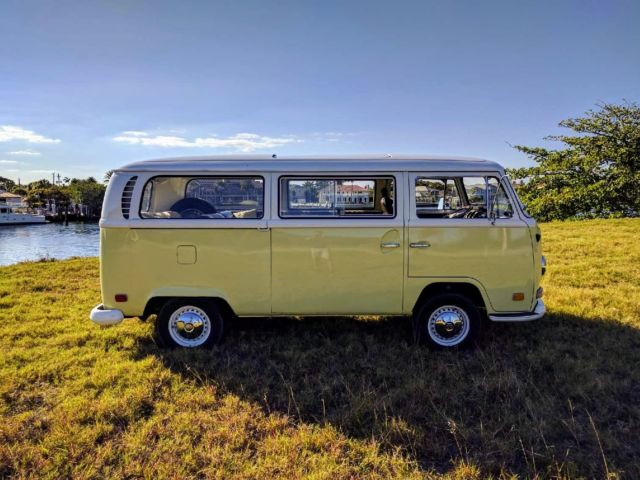volkswagen bus type 2 1970 yellow and white with brown