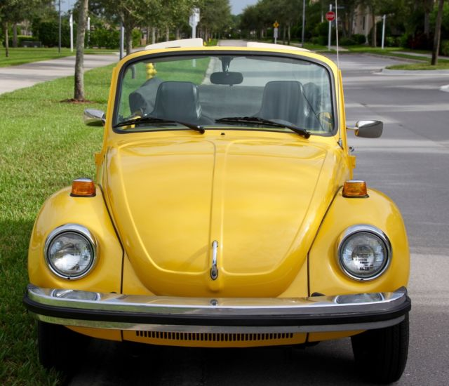 volkswagen super beetle convertible 1975 yellow w black top and tweed interior classic. Black Bedroom Furniture Sets. Home Design Ideas